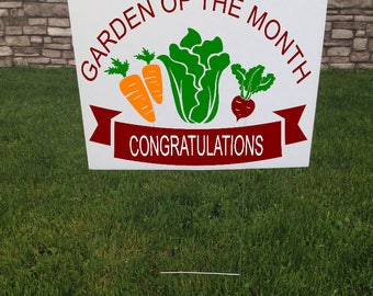 Garden of the Month Yard Sign, 24 x 18 Corrugated yard signs, Garden Gifts, Congratulations sign, Community Winner sign, Contest winner sign