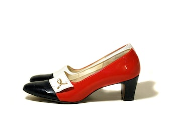 60s Shoes, Red White & Blue Pumps size 8AA, Patent Leather Pumps, Patriotic July 4th Vintage Shoes, Corfam Naturalizer Heels, 8 Narrow