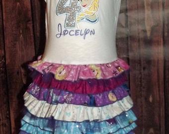 Elsa Frozen Inspired Birthday Party Ruffled T-Shirt Dress