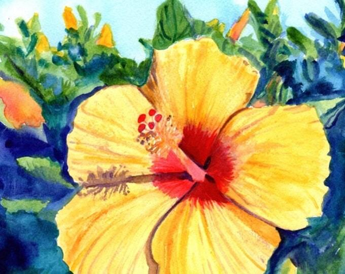 Hula Girl Hibiscus Original Watercolor Painting watercolour art tropical flower Hawaii Hawaiian Kauai Maui Oahu yellow hibiscus island decor