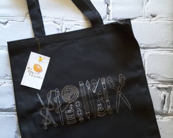 Artist Crafter Themed Embroidered Tote Bag - knitting-crochet- sewing-paper crafting-photograpy-needlearts - sketch artist