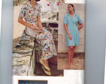 1990s Misses Sewing Pattern Vogue Sport 8632 Easy Loose Fitting Flared Dress Size 6 8 10 Bust 30 1/2 31 1/2 32 1/2 1993