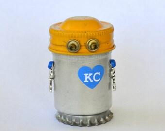 KC LOVE Bitty Bot, Assemblage Art Recycled Robot Sculpture