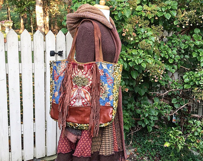 The Bohemian Leather Fringed Large Slouch Tote ~ Travel Bag, Fun Festive Shopper, Premium Italian Leather, Gorgeous Fabrics ~ Ready to Ship
