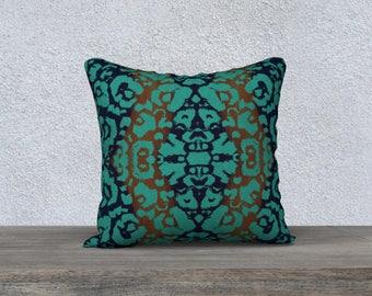 Throw Pillow Cover Modern Animal Print Damask Pattern in Teal Green Blue Burnt Orange