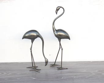 Large Silver Flamingo Sculptures, Pair