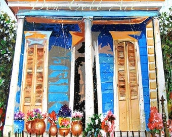 """New Orleans French Quarter Shotgun House Art """"Bloom Street"""" Print Signed and Numbered"""