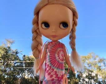 Cute Mod Blythe Doll Floaty Dress (Tent/Trapeze/GoGo/Groovy/1960s/Vintage Fabric)