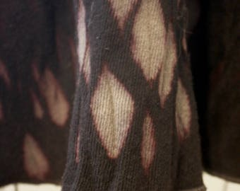 All Wool Swing Coat Shibori Dyed in Moss, Grape, and Black