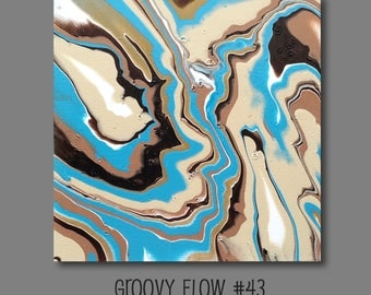 Groovy Abstract Acrylic Flow Painting #43 Ready to Hang 12x12