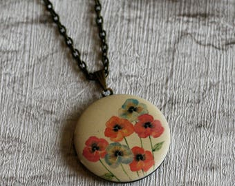 Red and Pink Poppy Locket Necklace, Floral Necklace, Flower Locket Necklace