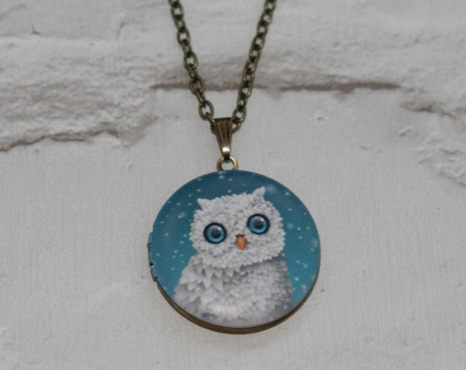 Snowy Owl Locket Necklace, Bird Necklace, Woodland, Animal Necklace