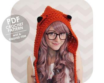 Kawaii fox hood hat - mori girl - crochet pattern - crochet hood pattern - crochet fox hat - winter hood - crochet winter hat hood pattern