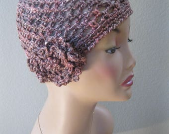 Rust Brown Variegated Cotton/Linen/Silk/Nettle Fiber Cloche with Detachable Flower Hand Crocheted by Swedishknit