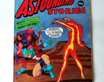 Astounding Stories #185, Vintage 1970s Comic with Superhero & Sci Fi Stories and Flame Woman on the Cover