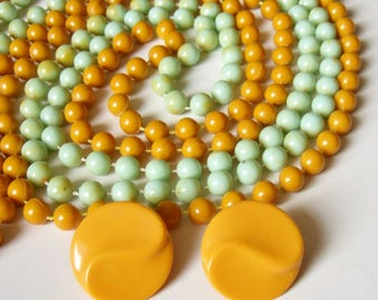 Two Long Bead Necklaces in Yellow and Green with Yellow Plastic Earrings - Cheap and Cheerful Cute Bright Jewellery