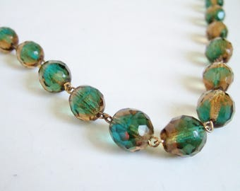 Sparkly Graduated Bead Necklace - Faceted Green and Amber Glass Crystal Beads with Chain Links