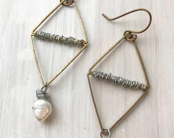 diamond hoops, triangle hoops, bronze hoops, freshwater pearl hoops, geometric earrings, geometric hoops, bohemian hoops, boho hoops