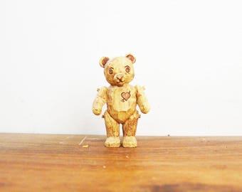vintage 90s Faux Bois Wooden Carved Heart Teddy Bear Figurine // Cutest Little Shelf Sitter
