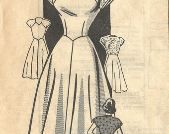 1940s Mail Order 3833 Vintage Sewing Pattern Junior Miss Party Dress, One Piece Dress, Tea Length Dress Size 15 Bust 33