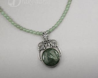 First frost - silver, oak leaves necklace with seraphinite and aventurines, ONE OF A KIND