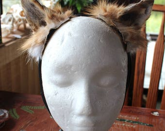 Fox ears headdress - real eco-friendly adjustable red fox fur ears costume for totemic ritual and dance