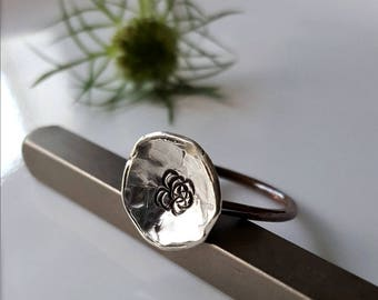 Organic Poppy Ring, Sterling Silver Flower, Hammered Copper Band, Nature Ring, Botanical Women's  Thin Band Ring, Organic Flower Ring