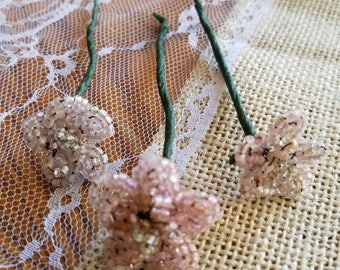 Set of Three (3) Vintage Glass Hand-Beaded Flower Picks, Flowers, Palest Pink