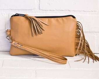 tan leather clutch, fringe clutch, wrist clutch, wristlet, phone wallet, leather tassel, make up bag, handmade, repurposed, stacylynnc