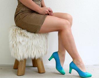 1980s Nine West Color Block Heels /// Size 5-1/2 to 6