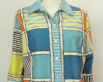 Vintage 1960's Alex Coleman Cotton Blouse, 60's Top or Casual Shirt, Large size