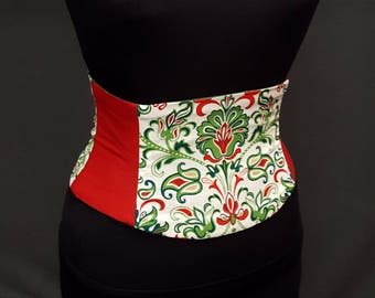 Red and Green Christmas Corset Waist Cincher Any Size Obi Belt