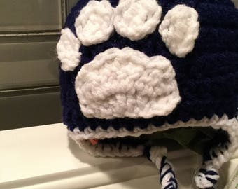 Paw Print Earflap hat for Newborn to 3 months - Ready to ship FREE