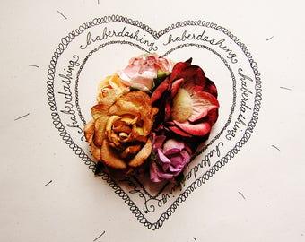 Coffee Burgundy Blush Violet velvet puffball Handmade Roses Vintage style Millinery flower corsage