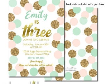 3rd Birthday Invitations for Girls, Third Birthday Invitations for Girls, 3rd Birthday Invite Mint Pink and Gold Glitter, Printable Printed