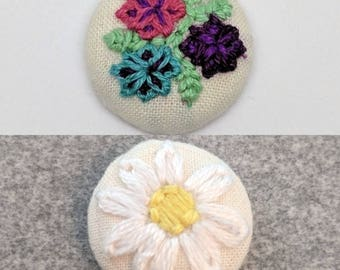 Floral Trio White Daisy Button Embroidery Earrings Bouquet Flower Spring Summer Pink Purple Green Yellow Blue Jewelry Earring Magnet Pin