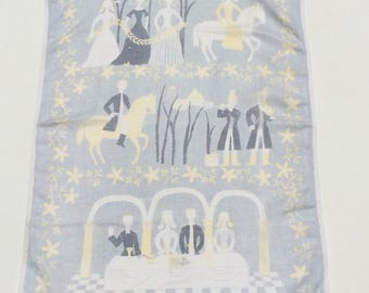 Vintage Mid Century Towel or Wall Hanging Medieval Swedish Wedding