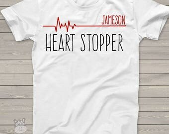 Funny Valentine's Day heart stopper life line personalized Tshirt  snlv-006