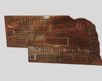 State of Nebraska Cribbage  Board - 2 OR 3 player Game - Walnut Wood - Complete with pegs, cards, storage bag - In Stock Ready to Ship