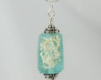 sea foam green ancient Roman glass sterling silver necklace 18 inch FREE SHIPPING OOAK