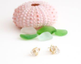 Simple Herkimer Diamond Studs, Handmade, Earrings, Dainty, Quartz, 14k Gold Filled, Simply Me Jewelry Dazzling Diamond Studs, SMJER807