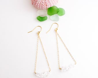 Simple Herkimer Diamond Triangle Earrings, Handmade, Dangle, Sparkle, 14k Gold Filled, Simply Me Jewelry Drop Diamond Line Earrings SMJER809