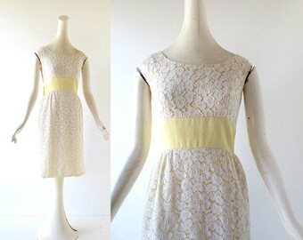 Vintage 1960s Dress | Lemon Drop | Lace Cocktail Dress | 60s Dress | XXS XS