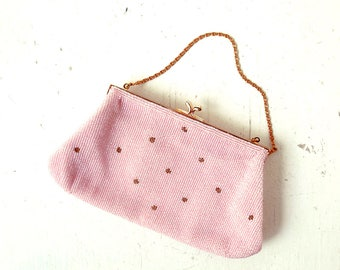 Vintage 1960s Purse | Pink Beaded Evening Bag
