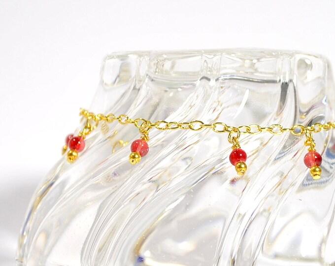 Charm Ankle Bracelet Red Gold Anklet Charm Anklet Chain Anklet Medium Anklet Red Ankle Bracelet 9.5 inch Anklet Gold Chain Anklet