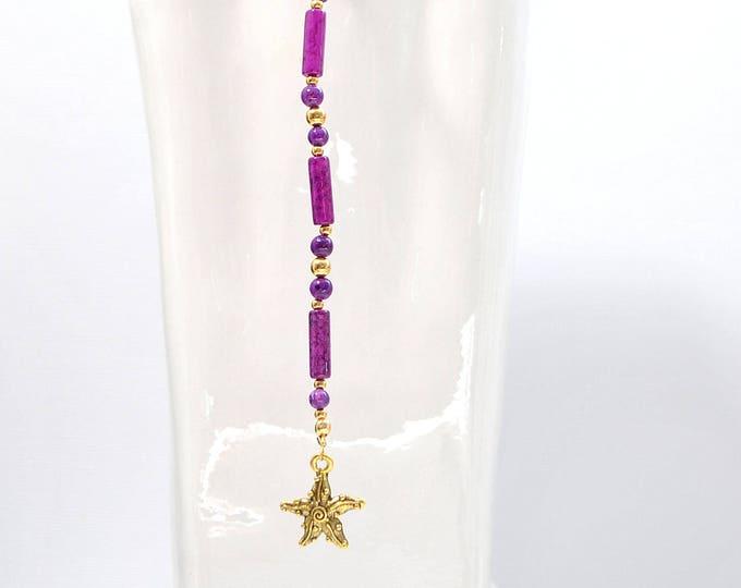 Beach Hair Clip Hair Charm 8 inch Pirate Hair Beads Purple Hair PIn Gypsy Hair Dangle Snap Clip or U Pin Hair Fork
