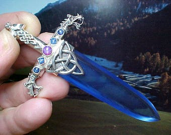 "Siberian Blue Quartz Ruby Sapphires Sword of Stone Sterling Triquetra Dragon Pendant ~ ""The Dragon Slayer"" SOS431"