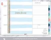 2018 planner calendar choose start month   add monthly tabs weekly student planner personalized agenda daytimer   blue watercolor stripes