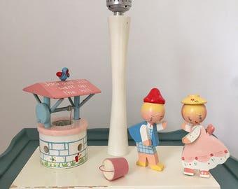 Vintage Irmi Nursery Originals Jack and Jill wooden lamp, 1960s midcentury lamp with nightlight, wishing well, birdie