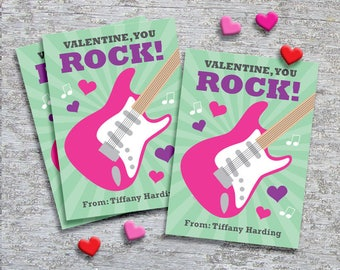 Personalized Classroom Valentine Cards for Kids – DIY Printable – Pink Guitar (Digital File)